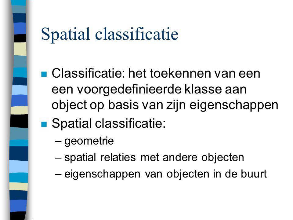 Spatial classificatie n Classificatie: het toekennen van een een voorgedefinieerde klasse aan object op basis van zijn eigenschappen n Spatial classificatie: –geometrie –spatial relaties met andere objecten –eigenschappen van objecten in de buurt