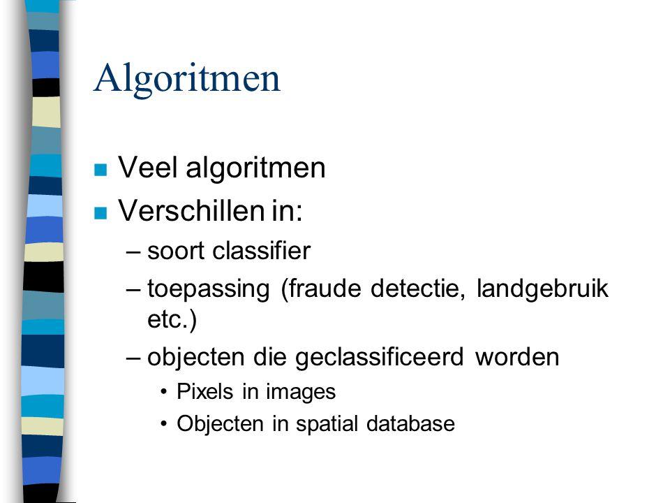 Algoritmen n Veel algoritmen n Verschillen in: –soort classifier –toepassing (fraude detectie, landgebruik etc.) –objecten die geclassificeerd worden Pixels in images Objecten in spatial database