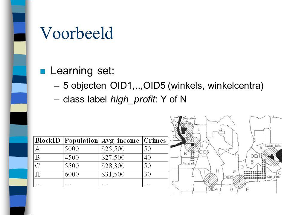 Voorbeeld n Learning set: –5 objecten OID1,..,OID5 (winkels, winkelcentra) –class label high_profit: Y of N