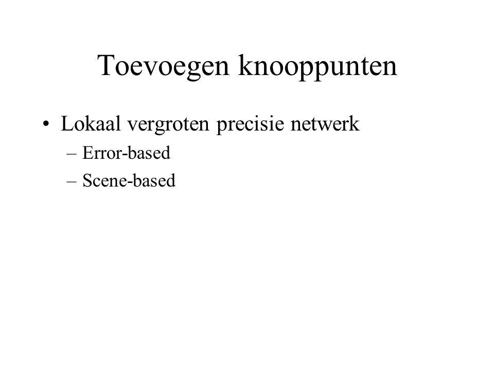 Toevoegen knooppunten Lokaal vergroten precisie netwerk –Error-based –Scene-based