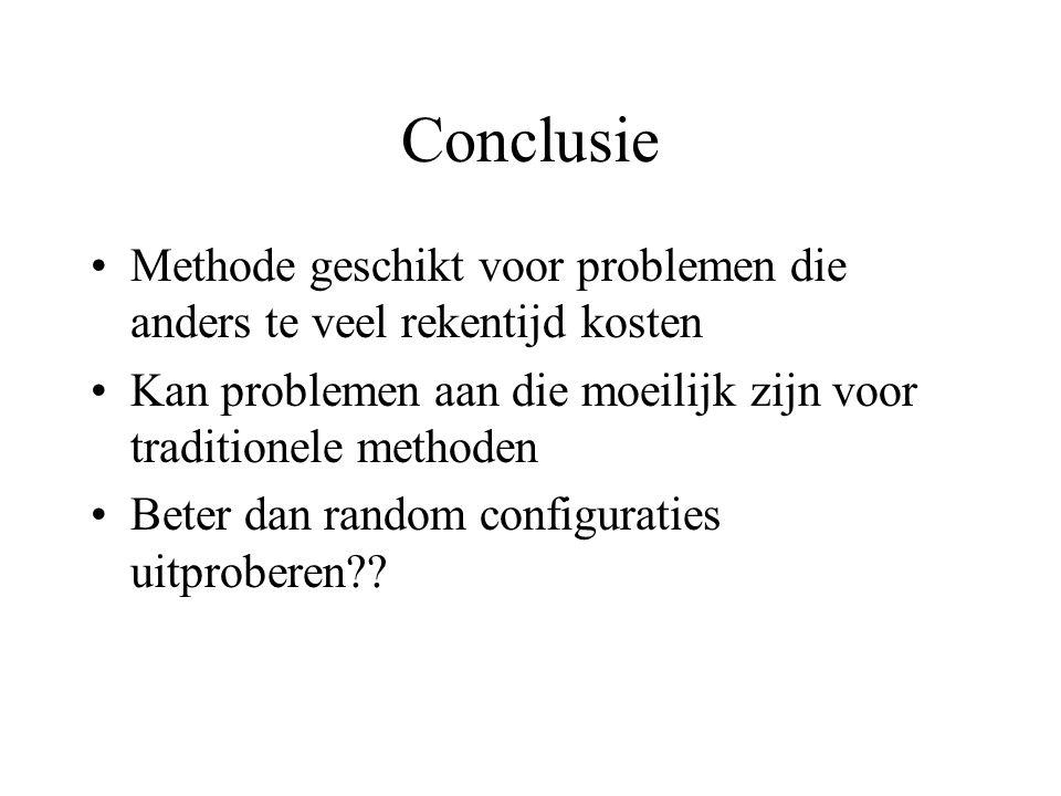 Conclusie Methode geschikt voor problemen die anders te veel rekentijd kosten Kan problemen aan die moeilijk zijn voor traditionele methoden Beter dan random configuraties uitproberen