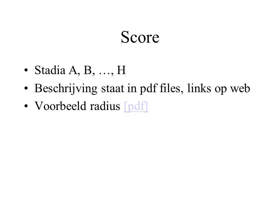 Score Stadia A, B, …, H Beschrijving staat in pdf files, links op web Voorbeeld radius [pdf][pdf]