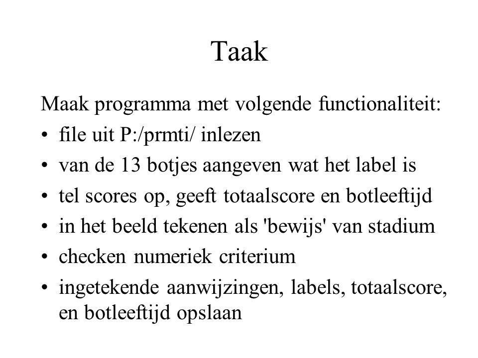 Taak Maak programma met volgende functionaliteit: file uit P:/prmti/ inlezen van de 13 botjes aangeven wat het label is tel scores op, geeft totaalscore en botleeftijd in het beeld tekenen als bewijs van stadium checken numeriek criterium ingetekende aanwijzingen, labels, totaalscore, en botleeftijd opslaan
