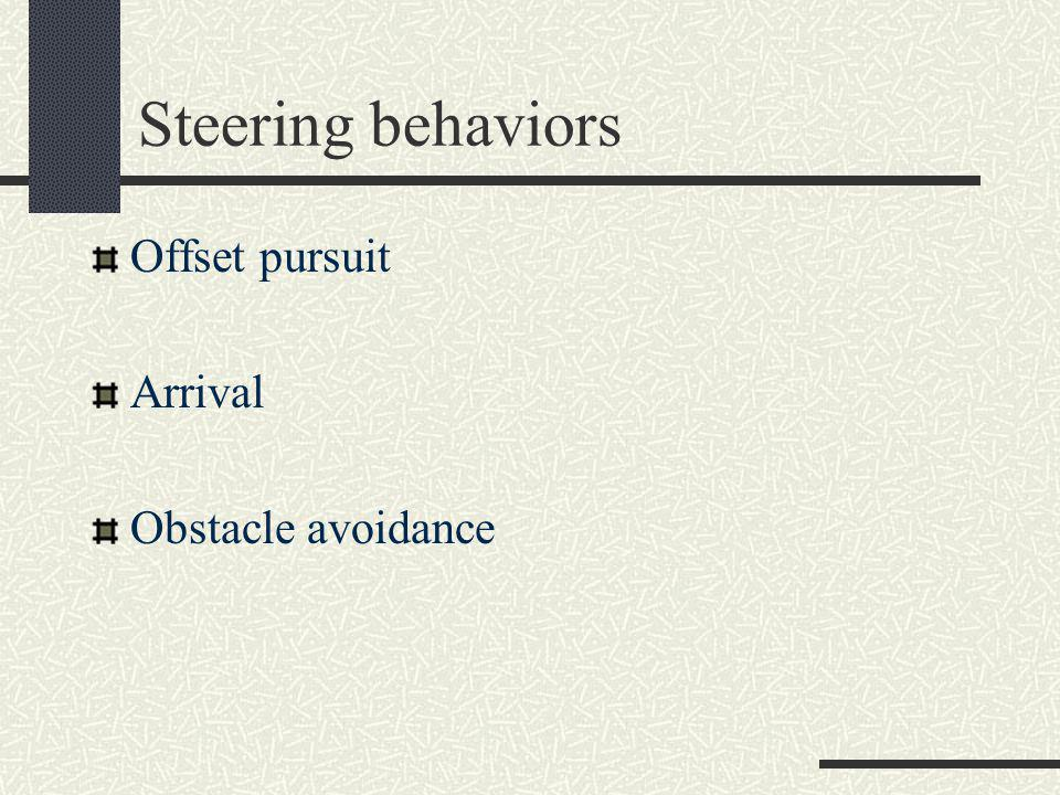Steering behaviors Wander Explore Forage