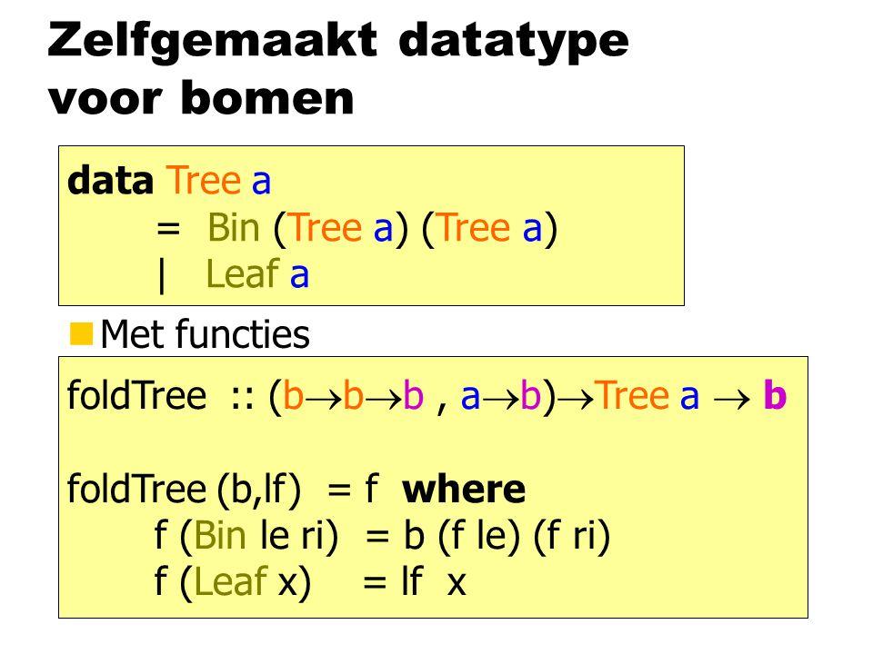 Zelfgemaakt datatype voor bomen nMet functies data Tree a = Bin (Tree a) (Tree a) | Leaf a foldTree :: Tree a  b foldTree (b,lf) (Bin le ri) = b (foldTree (b,lf) le) (foldTree (b,lf) ri) foldTree (b,lf) (Leaf x) = lf x bbbbbb (, )  abab foldTree :: (b  b  b, a  b)  Tree a  b foldTree (b,lf) = f where f (Bin le ri) = b (f le) (f ri) f (Leaf x) = lf x