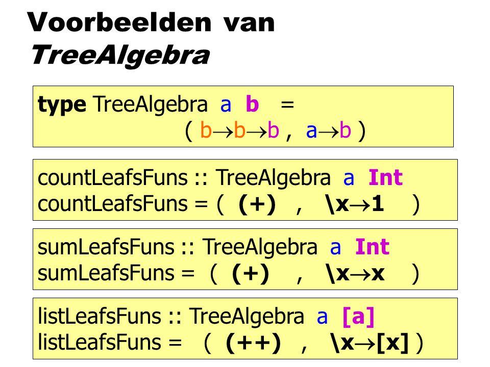 Voorbeelden van TreeAlgebra type TreeAlgebra a b = ( b  b  b, a  b ) countLeafsFuns :: TreeAlgebra a Int countLeafsFuns = ( (+), \x  1 ) sumLeafsFuns :: TreeAlgebra a Int sumLeafsFuns = ( (+), \x  x ) listLeafsFuns :: TreeAlgebra a [a] listLeafsFuns = ( (++), \x  [x] )