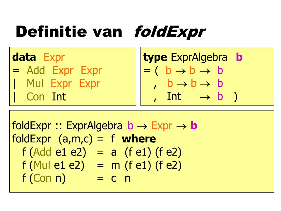 Definitie van foldExpr data Expr = Add Expr Expr | Mul Expr Expr | Con Int type ExprAlgebra b = ( b  b  b, b  b  b, Int  b ) foldExpr :: ExprAlgebra b  Expr  b foldExpr (a,m,c)= f where f (Add e1 e2)= a(f e1) (f e2) f (Mul e1 e2)= m(f e1) (f e2) f (Con n)= c n