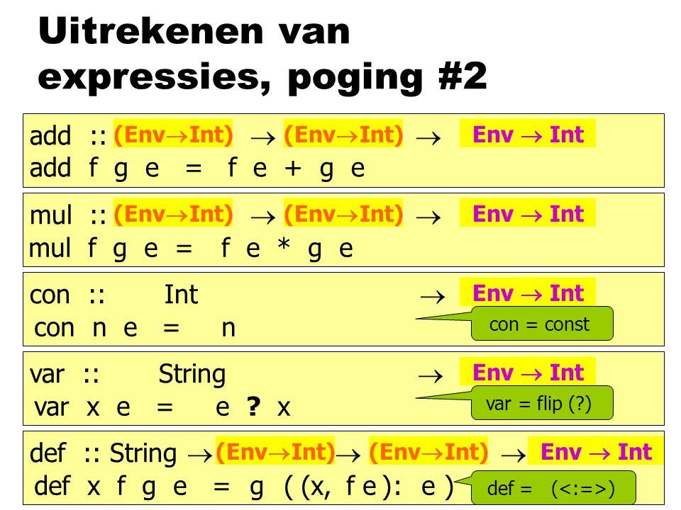 Uitrekenen van expressies, poging #2 add :: b  b  b add f g e = f e + g e (Env  Int) Env  Int mul :: b  b  b (Env  Int) Env  Int con :: Int  b Env  Int var :: String  b Env  Int def :: String  b  b  b (Env  Int) Env  Int mul f g e =f e * g e con n e =n var x e =e .