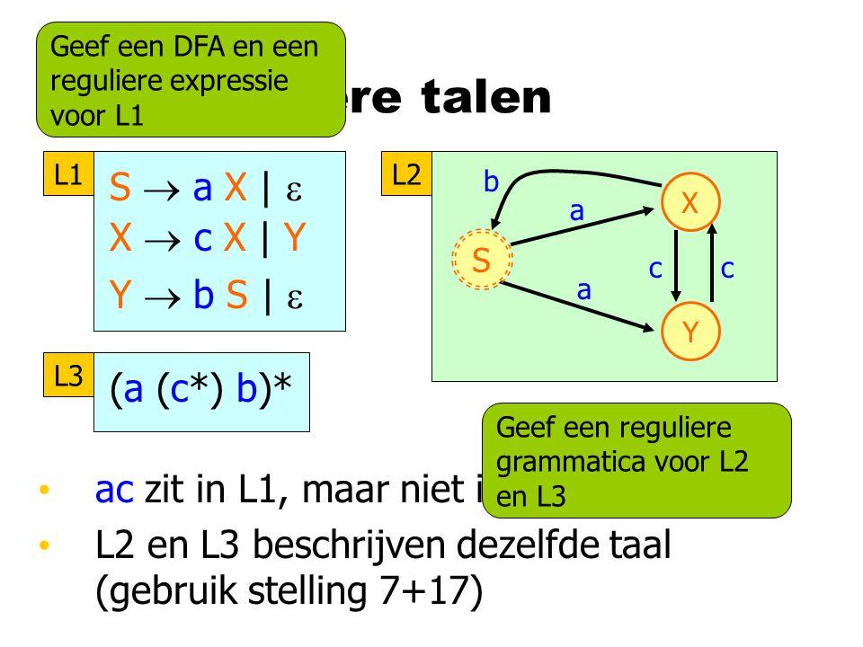 Drie reguliere talen X Y b a c a S c L2 (a (c*) b)* L3 ac zit in L1, maar niet in L2 of L3 L2 en L3 beschrijven dezelfde taal (gebruik stelling 7+17) Geef een DFA en een reguliere expressie voor L1 Geef een reguliere grammatica voor L2 en L3 S  a X |  X  c X | Y Y  b S |  L1