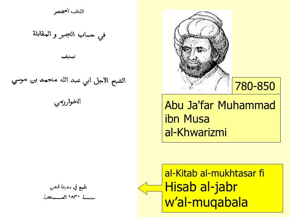 Abu Ja far Muhammad ibn Musa al-Khwarizmi 780-850 al-Kitab al-mukhtasar fi Hisab al-jabr w'al-muqabala Liber algebrae et almucabala 1140 Algoritmi de numero Indorum uit Khiva het boekuitgebreidover rekenen herstellen vergelijken over het getal van de Indiërs boek