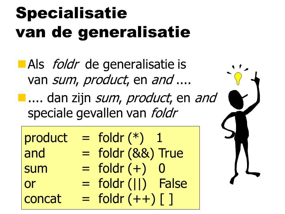 Zelfgemaakt datatype voor lijsten nMet functies data List a = Cons a (List a) | Nil som :: List Int  Int som (Cons x xs) = x + som xs som Nil = 0 and :: List Bool  Bool and (Cons x xs) = x && and xs and Nil = True length :: List a  Int length (Cons x xs) = 1 + length xs length Nil = 0 foldList :: List a  b foldList (c,n) (Cons x xs) = c x (foldList (c,n) xs) foldList (c,n) Nil = n abbabb (, )  b