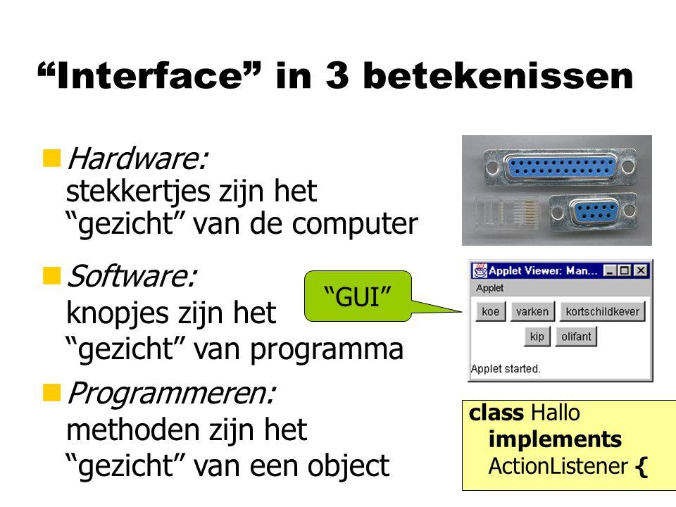 """""""Interface"""" in 3 betekenissen nHardware: stekkertjes zijn het """"gezicht"""" van de computer nSoftware: knopjes zijn het """"gezicht"""" van programma nProgramme"""