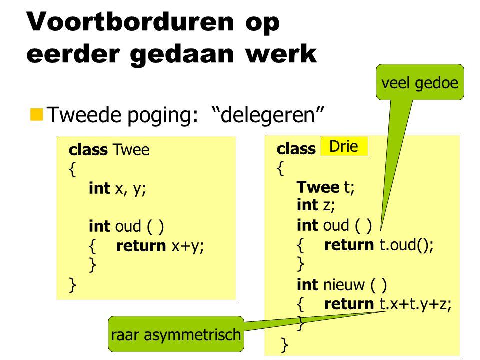 """raar asymmetrisch veel gedoe Voortborduren op eerder gedaan werk nTweede poging: """"delegeren"""" class Twee { int x, y; int oud ( ) { return x+y; } } clas"""