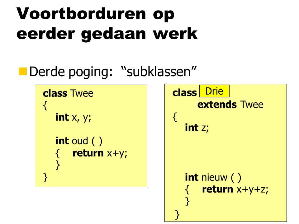"""Voortborduren op eerder gedaan werk nDerde poging: """"subklassen"""" class Twee { int x, y; int oud ( ) { return x+y; } } class Twee extends Twee { } int z"""
