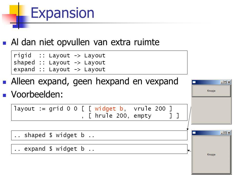11/36 Al dan niet opvullen van extra ruimte Alleen expand, geen hexpand en vexpand Voorbeelden: Expansion rigid :: Layout -> Layout shaped :: Layout -