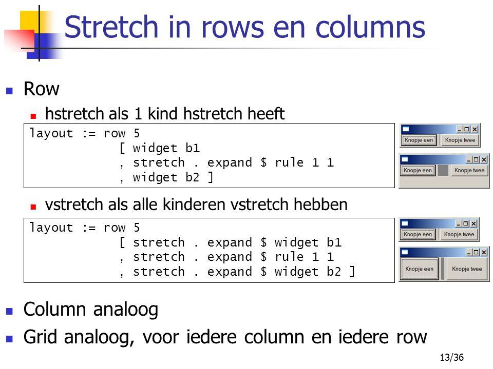 13/36 Row hstretch als 1 kind hstretch heeft vstretch als alle kinderen vstretch hebben Column analoog Grid analoog, voor iedere column en iedere row