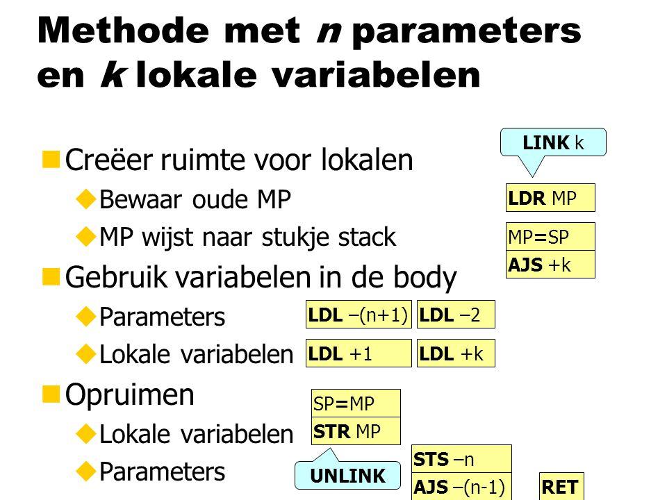 Methode met n parameters en k lokale variabelen nCreëer ruimte voor lokalen uBewaar oude MP uMP wijst naar stukje stack nGebruik variabelen in de body