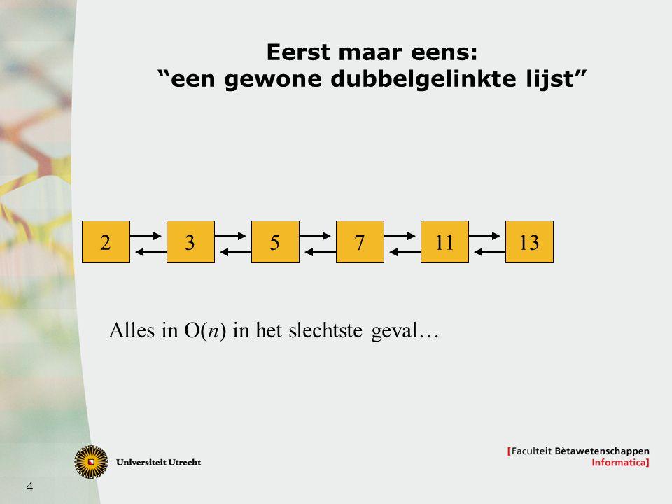 4 Eerst maar eens: een gewone dubbelgelinkte lijst 23571113 Alles in O(n) in het slechtste geval…