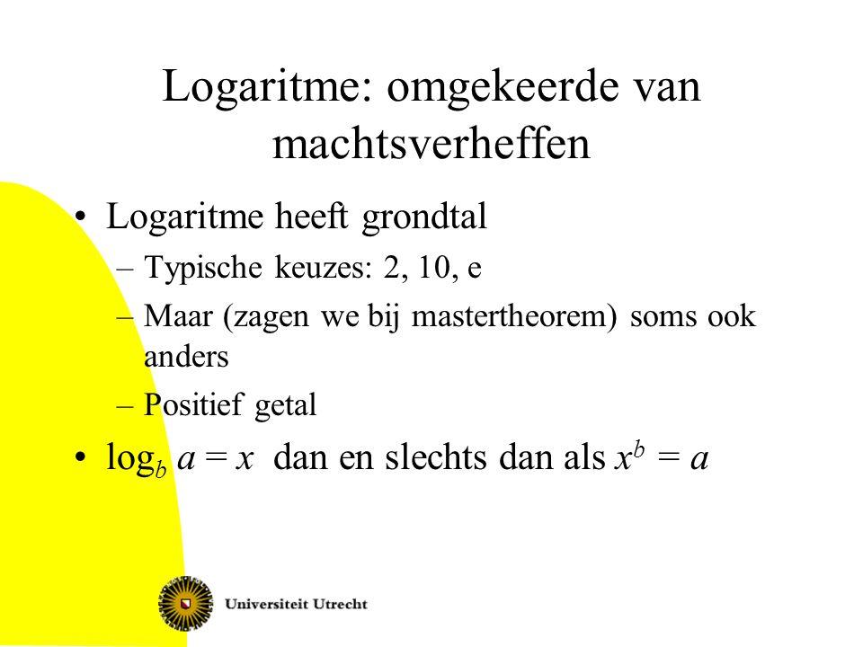 Logaritme: omgekeerde van machtsverheffen Logaritme heeft grondtal –Typische keuzes: 2, 10, e –Maar (zagen we bij mastertheorem) soms ook anders –Posi