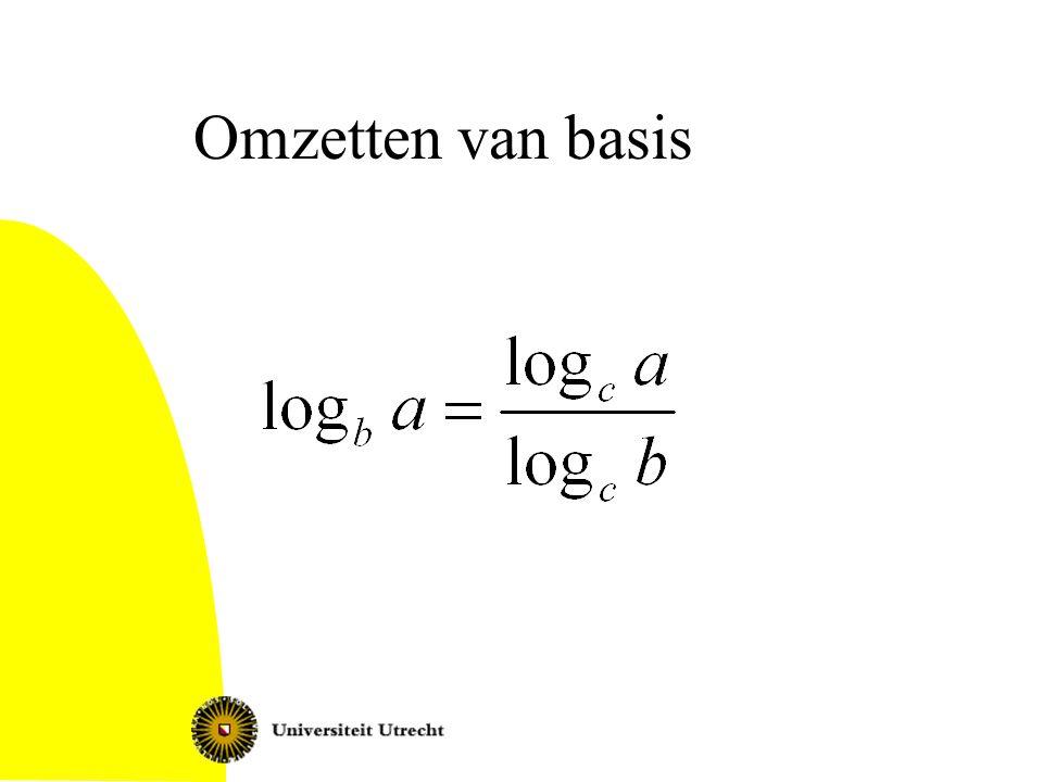 Gevoel voor waarden log 3 7 … –Ergens tussen 1 en 2 want 3 1 < 7 < 3 2 log 2 2 = 1 log ½ = -1 log x 1 = 0 (voor elk grondtal x)