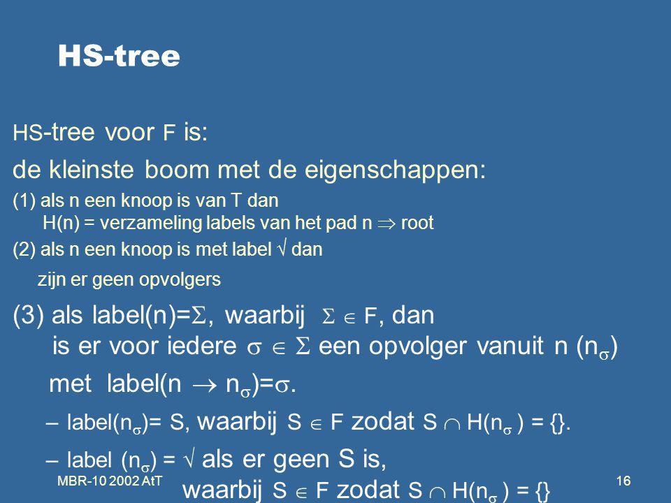 MBR-10 2002 AtT16 HS-tree HS -tree voor F is: de kleinste boom met de eigenschappen: (1) als n een knoop is van T dan H(n) = verzameling labels van het pad n  root (2) als n een knoop is met label √ dan zijn er geen opvolgers (3) als label(n)= , waarbij   F, dan is er voor iedere    een opvolger vanuit n (n  ) met label(n  n  )= .