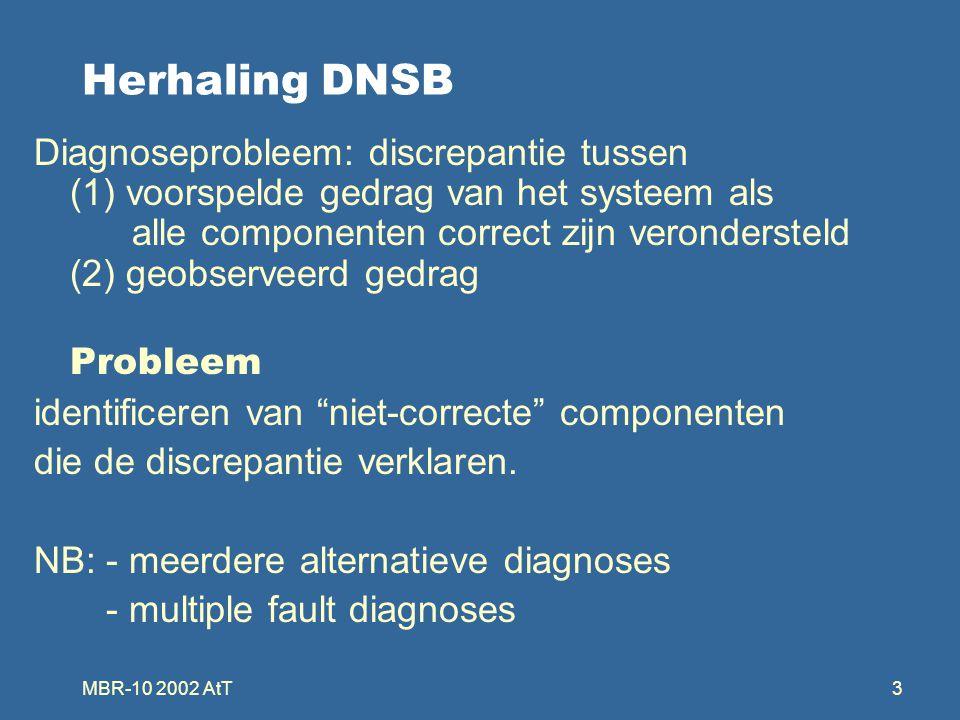 MBR-10 2002 AtT4 Berekenen van diagnoses alle diagnoses voor (SD,COMP,OBS) generatie/test-mechanisme: –genereer alle diagnoses mbv.