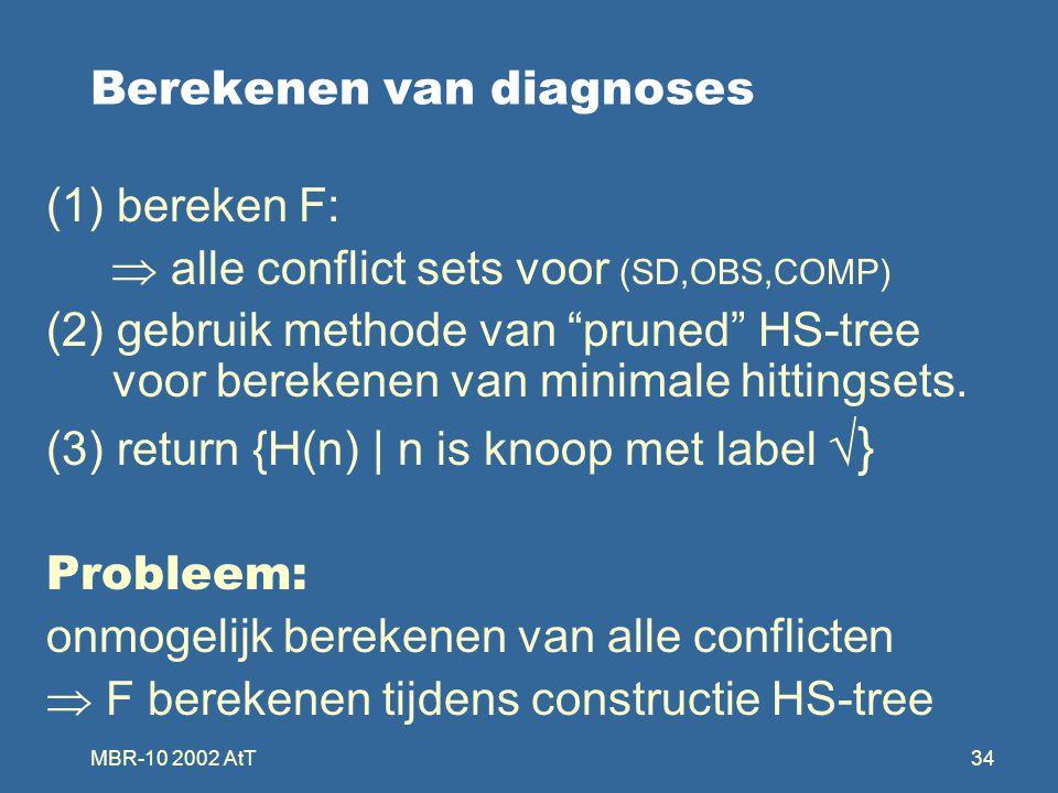 MBR-10 2002 AtT34 Berekenen van diagnoses (1) bereken F:  alle conflict sets voor (SD,OBS,COMP) (2) gebruik methode van pruned HS-tree voor berekenen van minimale hittingsets.
