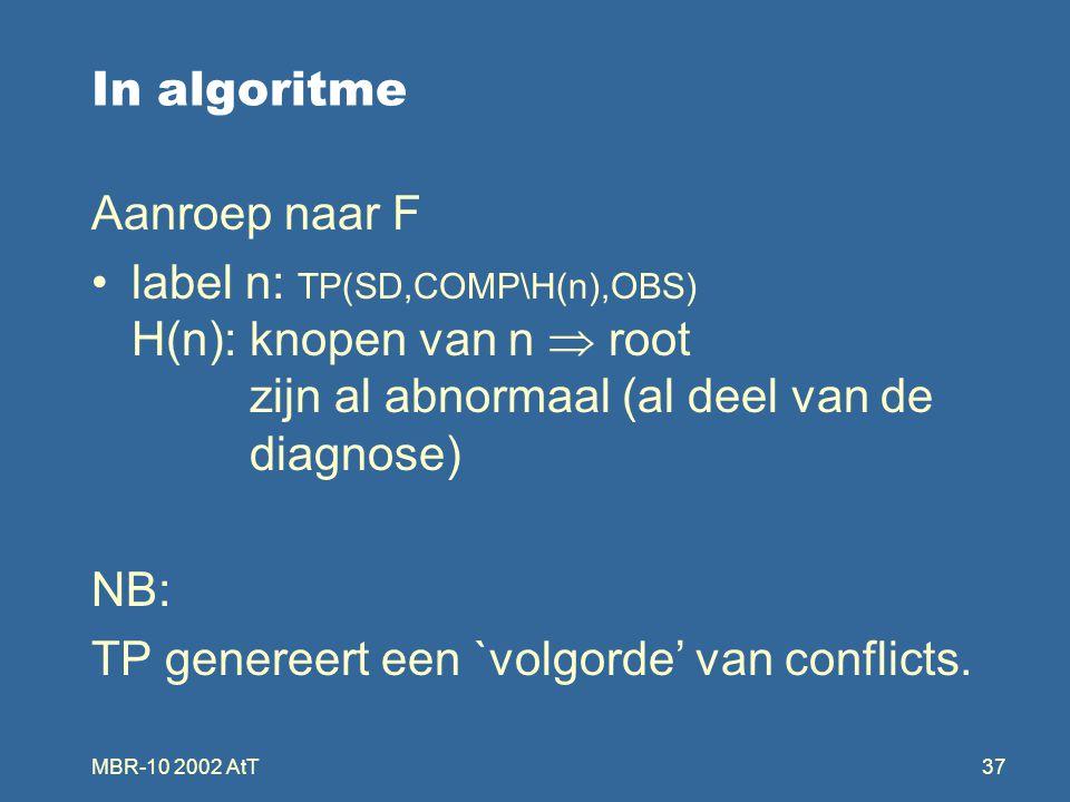 MBR-10 2002 AtT37 In algoritme Aanroep naar F label n: TP(SD,COMP\H(n),OBS) H(n): knopen van n  root zijn al abnormaal (al deel van de diagnose) NB: TP genereert een `volgorde' van conflicts.