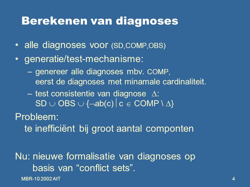 MBR-10 2002 AtT4 Berekenen van diagnoses alle diagnoses voor (SD,COMP,OBS) generatie/test-mechanisme: –genereer alle diagnoses mbv. COMP, eerst de dia