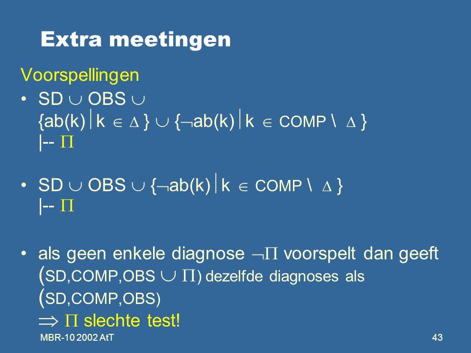 MBR-10 2002 AtT43 Extra meetingen Voorspellingen SD  OBS  {ab(k)  k   }  {  ab(k)  k  COMP \  } |--  SD  OBS  {  ab(k)  k  COMP \  } |--  als geen enkele diagnose  voorspelt dan geeft ( SD,COMP,OBS   ) dezelfde diagnoses als ( SD,COMP,OBS)   slechte test!