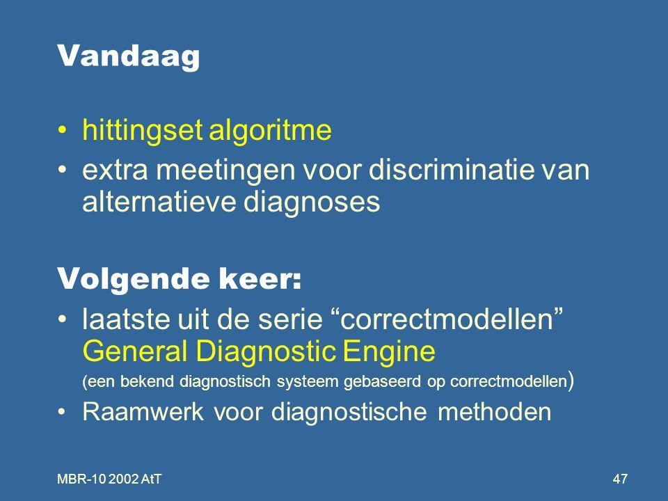 """MBR-10 2002 AtT47 Vandaag hittingset algoritme extra meetingen voor discriminatie van alternatieve diagnoses Volgende keer: laatste uit de serie """"corr"""