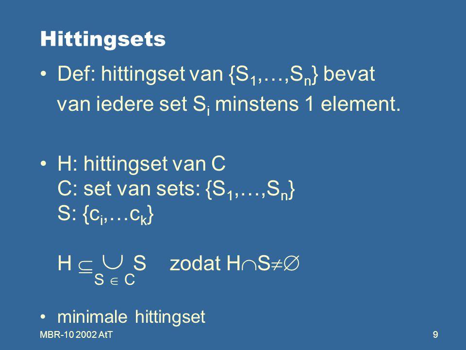 MBR-10 2002 AtT20 Algoritme voor HS-tree Doel: zoeken naar een algoritme voor het genereren van HS-tree Eigenschappen: zo klein mogelijke HS-tree HS-tree met alle minimale hittingsets minimaliseren van het aantal aanroepen naar F voor het genereren van een subtree Aanroep naar F: = bepalen van een label van een knoop = zoeken van een S zodanig dat S  H(n ) = {}.
