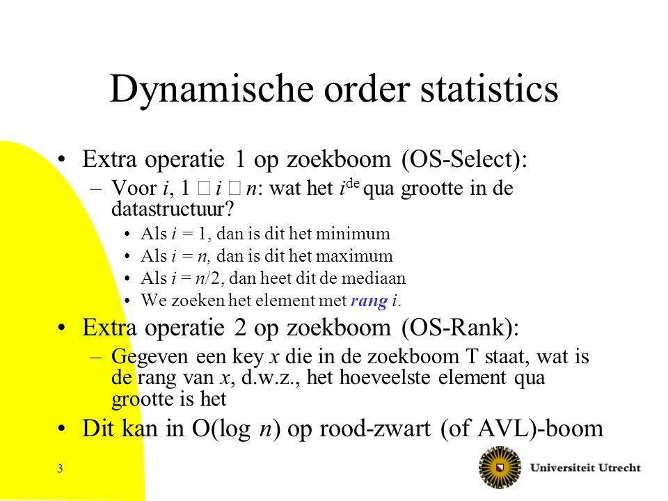 3 Dynamische order statistics Extra operatie 1 op zoekboom (OS-Select): –Voor i, 1  i  n: wat het i de qua grootte in de datastructuur.
