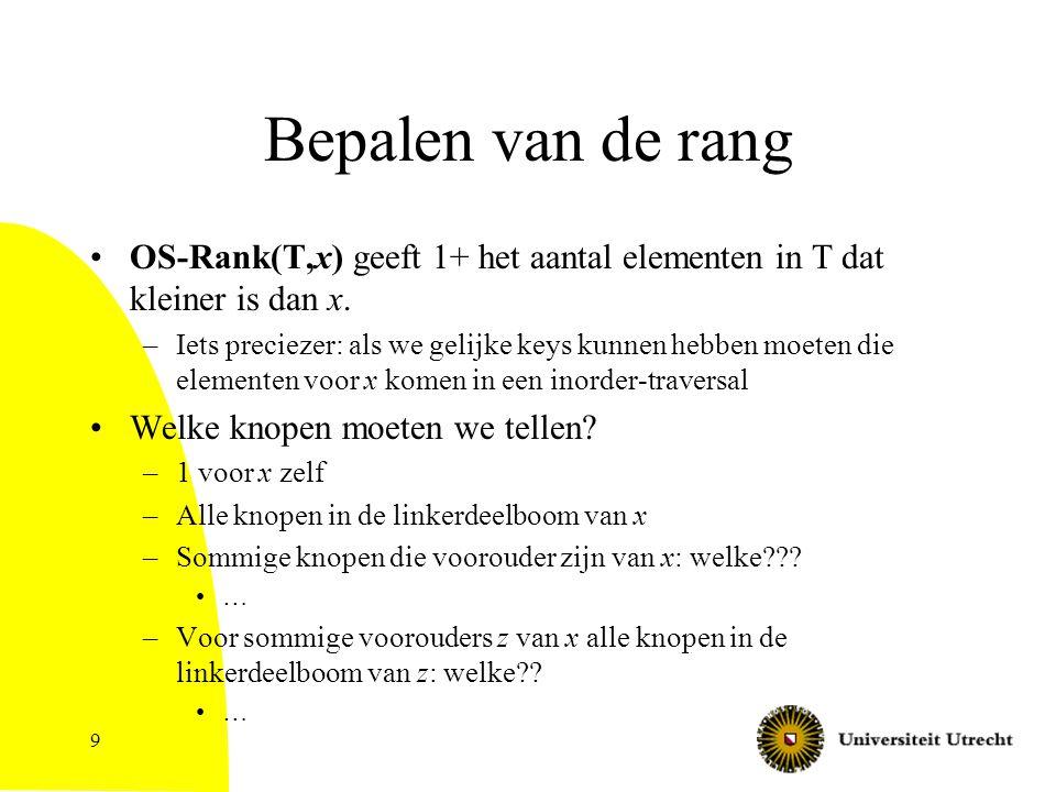 9 Bepalen van de rang OS-Rank(T,x) geeft 1+ het aantal elementen in T dat kleiner is dan x.