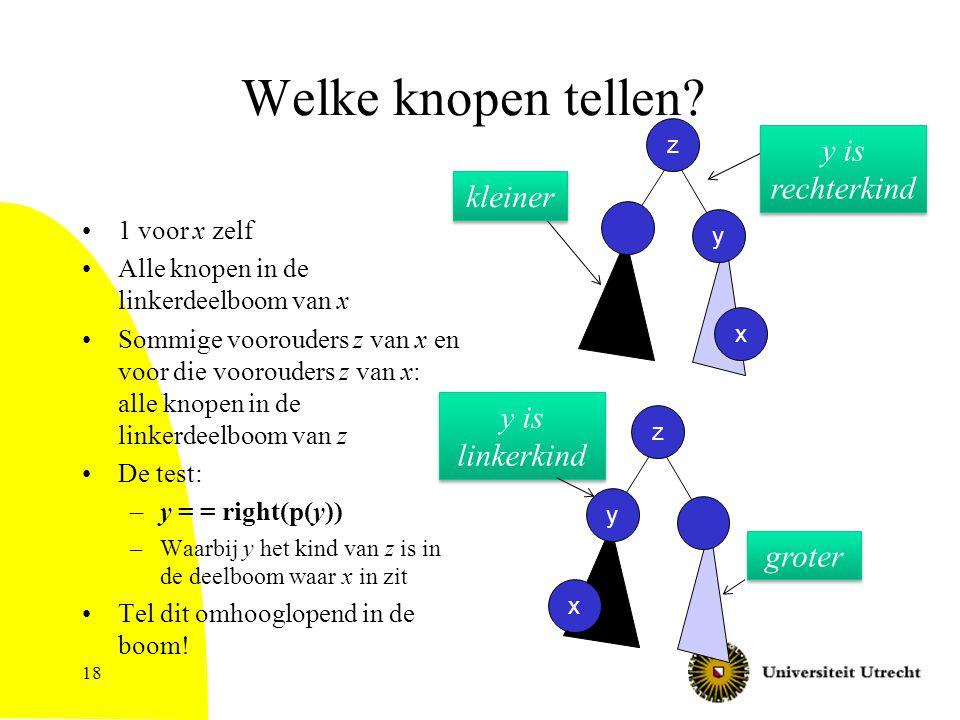 18 Welke knopen tellen? 1 voor x zelf Alle knopen in de linkerdeelboom van x Sommige voorouders z van x en voor die voorouders z van x: alle knopen in