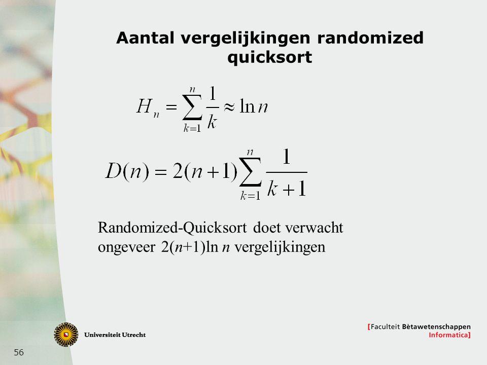 56 Aantal vergelijkingen randomized quicksort Randomized-Quicksort doet verwacht ongeveer 2(n+1)ln n vergelijkingen