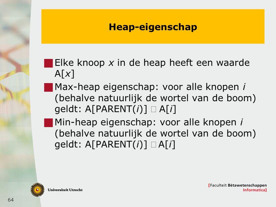 64 Heap-eigenschap  Elke knoop x in de heap heeft een waarde A[x]  Max-heap eigenschap: voor alle knopen i (behalve natuurlijk de wortel van de boom) geldt: A[PARENT(i)]  A[i]  Min-heap eigenschap: voor alle knopen i (behalve natuurlijk de wortel van de boom) geldt: A[PARENT(i)] A[i]