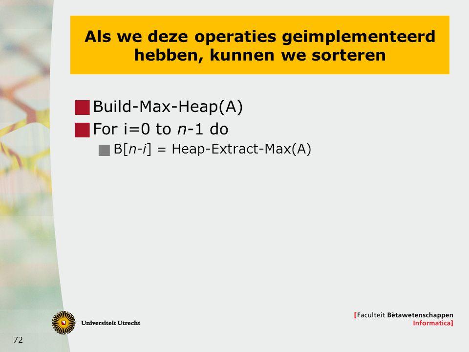72 Als we deze operaties geimplementeerd hebben, kunnen we sorteren  Build-Max-Heap(A)  For i=0 to n-1 do  B[n-i] = Heap-Extract-Max(A)