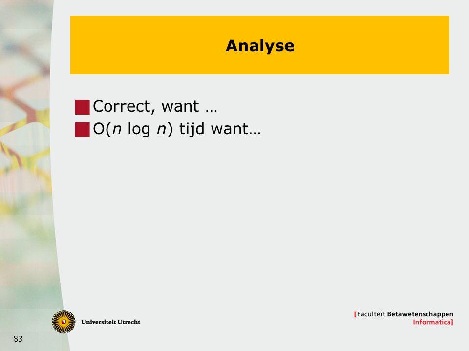83 Analyse  Correct, want …  O(n log n) tijd want…