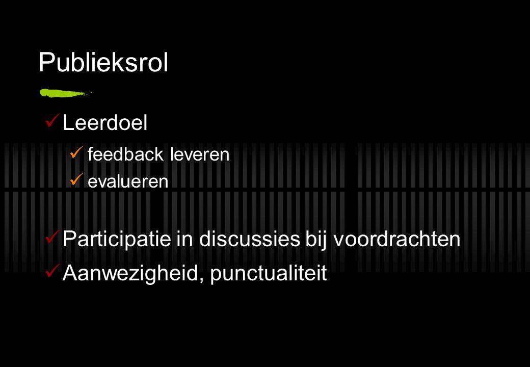 Publieksrol Leerdoel feedback leveren evalueren Participatie in discussies bij voordrachten Aanwezigheid, punctualiteit