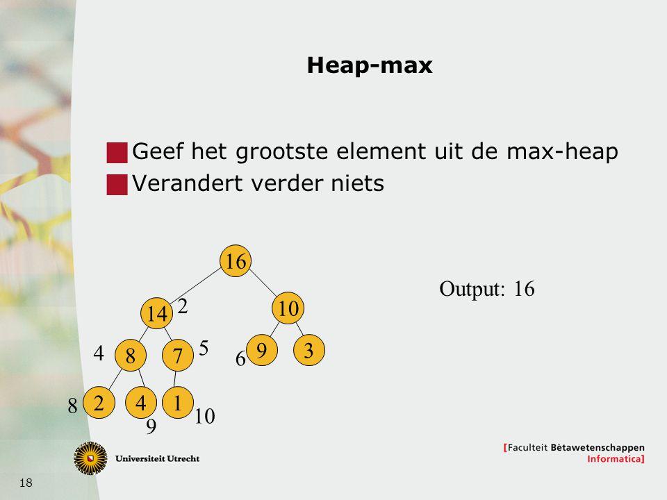 18 Heap-max  Geef het grootste element uit de max-heap  Verandert verder niets 16 14 8 241 7 10 93 2 4 5 6 8 9 Output: 16