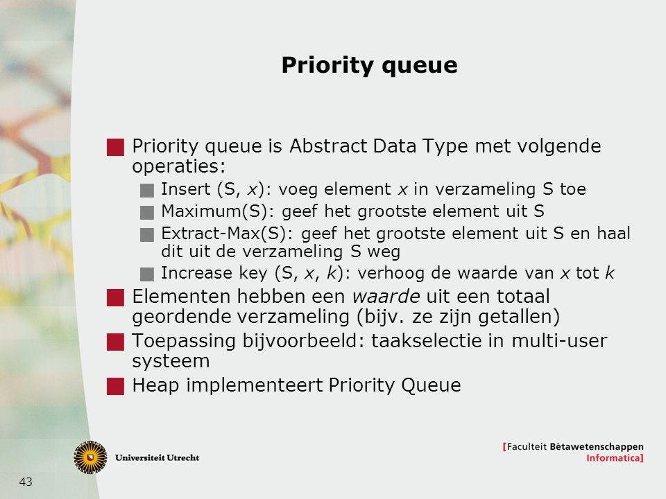 43 Priority queue  Priority queue is Abstract Data Type met volgende operaties:  Insert (S, x): voeg element x in verzameling S toe  Maximum(S): geef het grootste element uit S  Extract-Max(S): geef het grootste element uit S en haal dit uit de verzameling S weg  Increase key (S, x, k): verhoog de waarde van x tot k  Elementen hebben een waarde uit een totaal geordende verzameling (bijv.