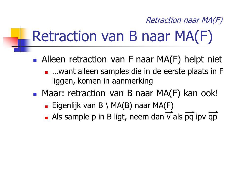 Retraction van B naar MA(F) Alleen retraction van F naar MA(F) helpt niet …want alleen samples die in de eerste plaats in F liggen, komen in aanmerking Maar: retraction van B naar MA(F) kan ook.