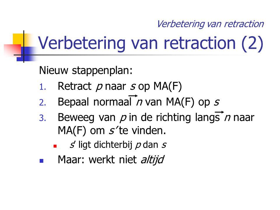 Verbetering van retraction (2) Nieuw stappenplan: 1.