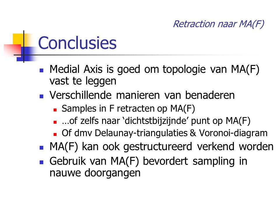 Conclusies Medial Axis is goed om topologie van MA(F) vast te leggen Verschillende manieren van benaderen Samples in F retracten op MA(F) …of zelfs naar 'dichtstbijzijnde' punt op MA(F) Of dmv Delaunay-triangulaties & Voronoi-diagram MA(F) kan ook gestructureerd verkend worden Gebruik van MA(F) bevordert sampling in nauwe doorgangen Retraction naar MA(F)