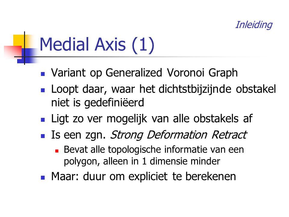Medial Axis (1) Inleiding Variant op Generalized Voronoi Graph Loopt daar, waar het dichtstbijzijnde obstakel niet is gedefiniëerd Ligt zo ver mogelijk van alle obstakels af Is een zgn.