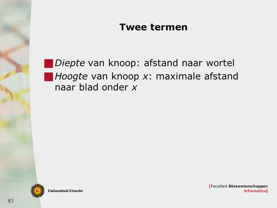 83 Twee termen  Diepte van knoop: afstand naar wortel  Hoogte van knoop x: maximale afstand naar blad onder x