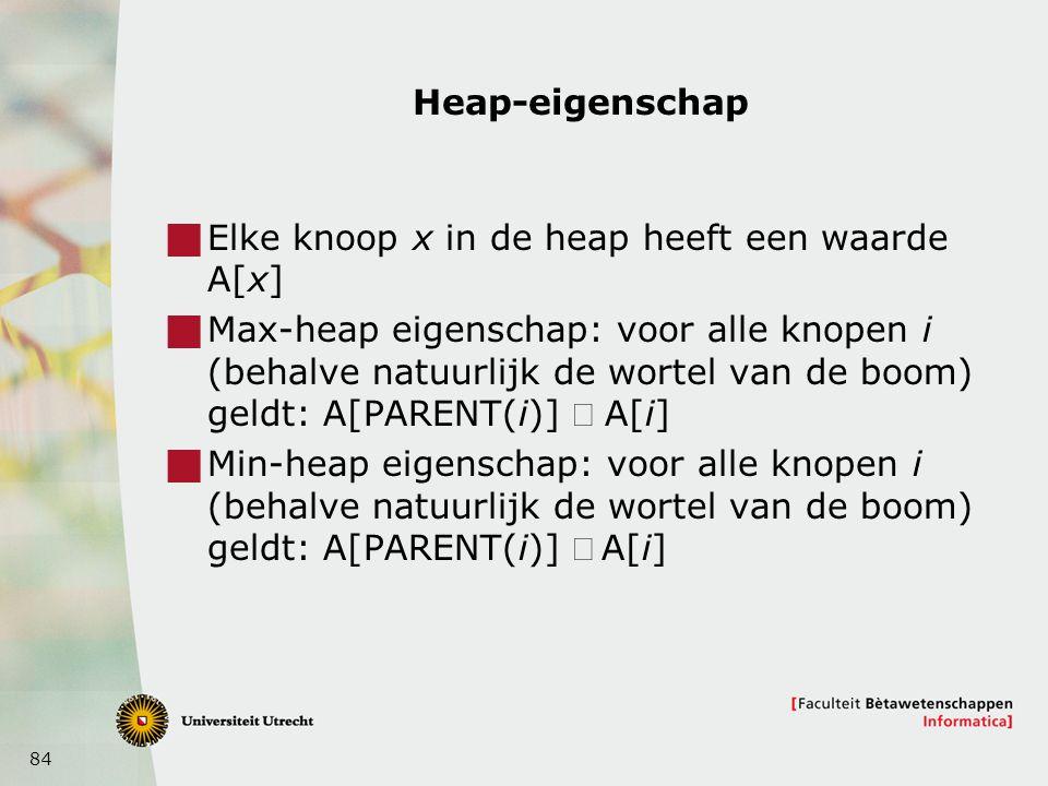 84 Heap-eigenschap  Elke knoop x in de heap heeft een waarde A[x]  Max-heap eigenschap: voor alle knopen i (behalve natuurlijk de wortel van de boom) geldt: A[PARENT(i)]  A[i]  Min-heap eigenschap: voor alle knopen i (behalve natuurlijk de wortel van de boom) geldt: A[PARENT(i)] A[i]
