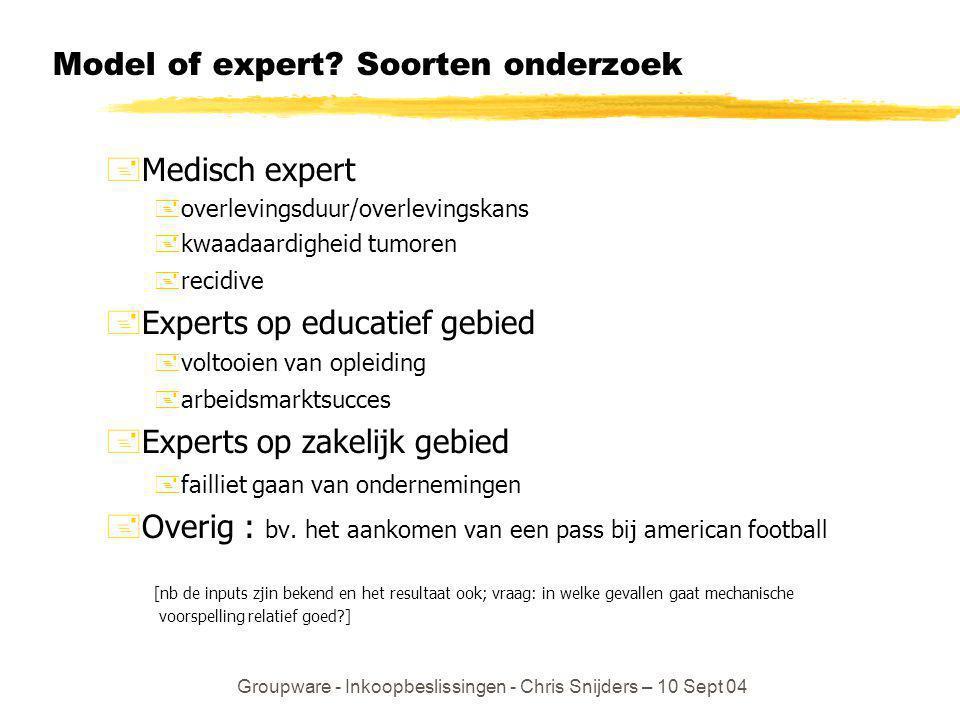Groupware - Inkoopbeslissingen - Chris Snijders – 10 Sept 04 Model of expert? Soorten onderzoek +Medisch expert +overlevingsduur/overlevingskans +kwaa