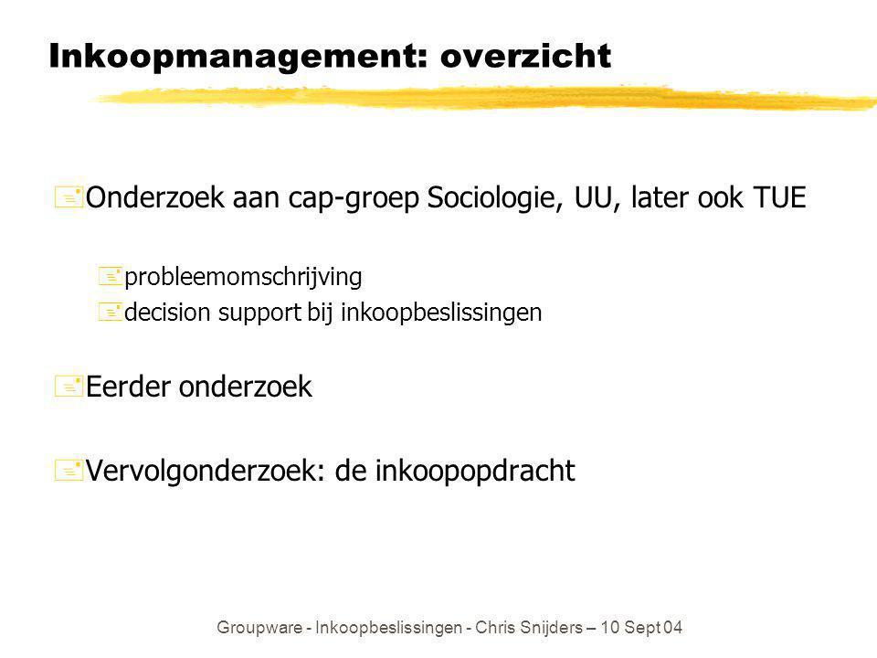 Groupware - Inkoopbeslissingen - Chris Snijders – 10 Sept 04 Inkoopmanagement: overzicht +Onderzoek aan cap-groep Sociologie, UU, later ook TUE +probl